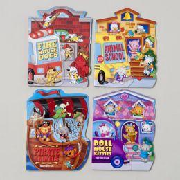 48 Bulk Board Books Fan Tab U Lus 4 Asstd Kitties,dogs,pirate Animal School Bus In Pdq