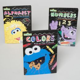 48 Bulk Sesame Street Wipe Off Workbooks 3 Asstd In Floor Display