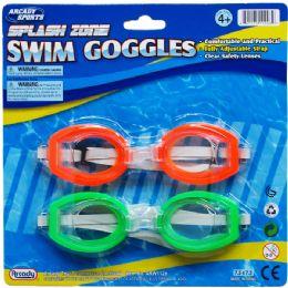 72 Bulk Swimming Goggles Set In Blister Card For Kids