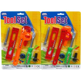 72 Bulk 6pc Tool Play Set In Blister Card, Assorted