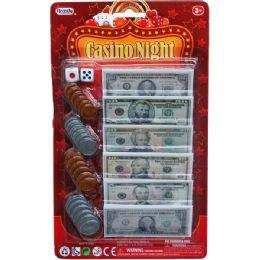 48 Bulk Bills And Coins Casino Night Money Set In Blister Card