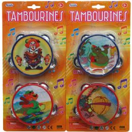 "48 Bulk 2pc 4"" Tambourine Set In Blister Card"