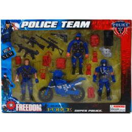 24 Bulk 18pc Police Team Action Fig Play Set In Window Box