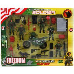 18 Bulk 24pc Army Force Play Set In Window Box