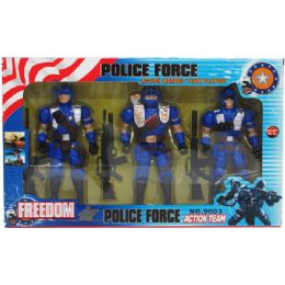 """24 Bulk 3pc 7"""" Police Action Figs. Set W/accss In Window Box"""