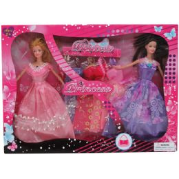 """24 Bulk 2pc 11"""" Bendable Doll Set W / 5 Extra Outfits In Window Box"""