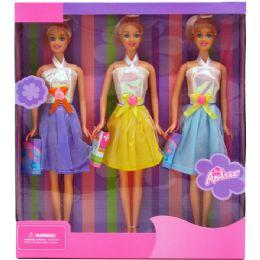 "24 Bulk 3pc 12"" Bendable Dolls Set In Window Box"