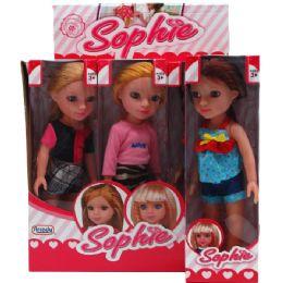 "36 Bulk 9pc 12.75"" Sophie Doll In Color Display Box,"
