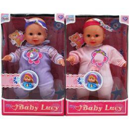 "18 Bulk 12"" B/o Baby Lucy Doll W/accss & 4 Sounds In Window Box"