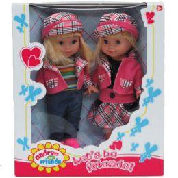 """12 Bulk 2pc 10.5"""" Andrea & Friends Doll Set In Window Box"""
