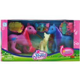 24 Bulk Rainbow Pony Set With Accessories In Window Box Assorted
