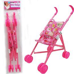 """12 Bulk 20""""h Plastic Frame Doll Stroller In Poly Bag W/ Header"""