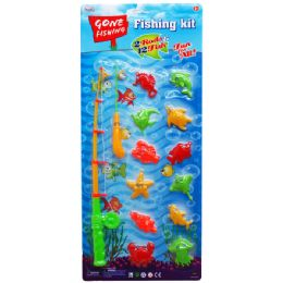 24 Bulk 14pc Gone Fishin Game Play Set W/two Rods In Blister