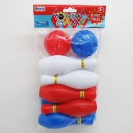 48 Bulk 12pc Mini Bowling Play Set In Poly Bag W/header