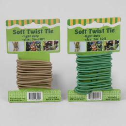 48 Bulk Soft Twist Tie 10ft/3mm Green/ Tan 12pc Merchstrip Gardn Tcd