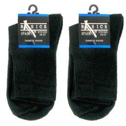 120 Bulk Diabetic Crew Socks 10-13 Black Basics Singe Pair