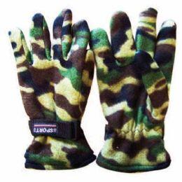 48 Bulk Wholesale Mens Camouflage Fleece Gloves Camouflage Fleece
