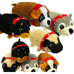 72 Bulk Mini Plush Stackable Dogs.