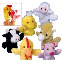 576 Bulk Plush Farm Animal Finger Puppets