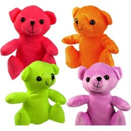 48 Bulk Plush Flannel Neon Bears.