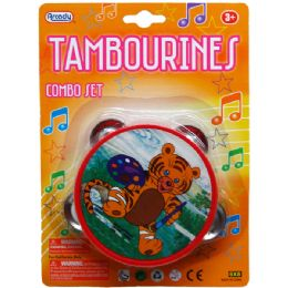 """144 Bulk 4"""" Tambourine In Blister Card, Four Assorted"""