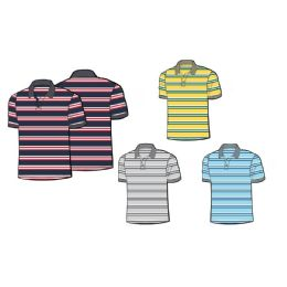 24 Bulk Mens 100% Cotton Striped Polo Shirt