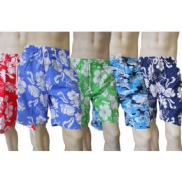 48 Bulk Men's Micro Fiber Swim Shorts - Hawaiian Print