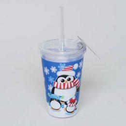 20 Bulk Tumbler Insulated Acrylic 16oz W/straw Penguin