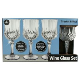 12 Bulk Crystal Effect Plastic Wine Glass Set