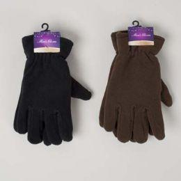 48 Bulk Glove Mens Fleece Adult 10x4.5in 70gm/pair Black/dark Brown Header Card W/hook