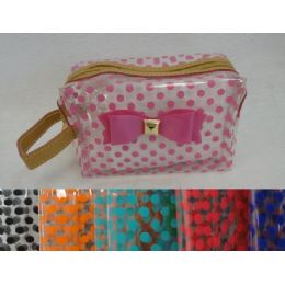 24 Bulk Clear Plastic MakE-Up Bag [polka Dots & Bow]