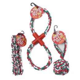48 Bulk Dog Toy Christmas Rope Chews 3 Assorted In Pdq