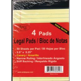 "72 Bulk Legal Pads, 3.5""x5.25"", 50 Sheets Each, 4 Pk., Canary"