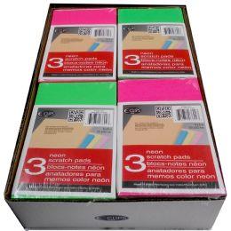 "48 Bulk Neon Scratch Pads, 4""x6"", 3 Pk, 2 Displays Of 24 Per Carton"