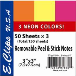 72 Bulk Sticky Notes, Neon Rainbow, 3pk, 50 Shts Each (2 Inners Of 36)