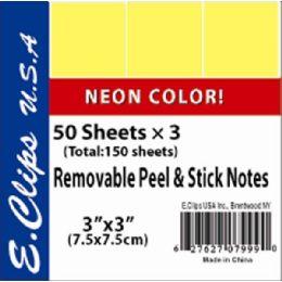 72 Bulk Sticky Notes, Neon Yellow, 3pk, 50 Shts Each