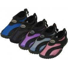 "36 Bulk Children's ""wave"" Aqua Socks In Assorted Colors"