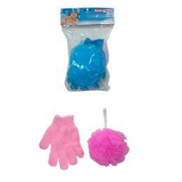 144 Bulk 2pc Shower Glove With Scrubber 50g