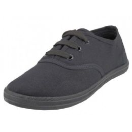 24 Bulk Youth's Lace Up Casual Canvas Shoes ( *all Black Color )