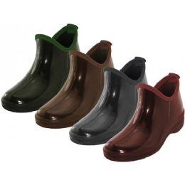24 Bulk Women's Water Proof 6.5 Inches Ankle Height Garden Shoes, Rain Boots