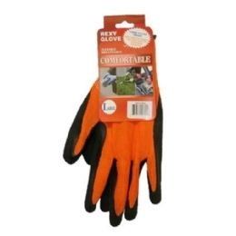120 Bulk Bright Orange Poly W Black Latex Glove L