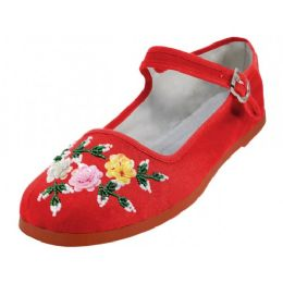 48 Bulk Women's Cotton Mary Jane With Sequin (red Color Only)