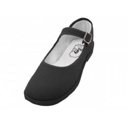 36 Bulk Girls' Cotton Mary Jane Shoes (black Color Only)