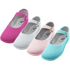 36 Bulk Girl's Cotton Mary Jane Shoes Assorted Colors