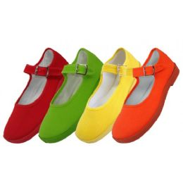 36 Bulk Girls' Cotton Mary Jane Shoes Assorted Neon Color Only