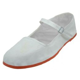 36 Bulk Girl's Classic Cotton Mary Jane Shoes( White Color Only)