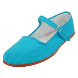36 Bulk Girl's Classic Cotton Mary Jane Shoes Turquoise Color Only