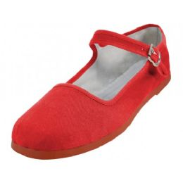 36 Bulk Girl's Classic Cotton Mary Jane Shoes Red Color Only