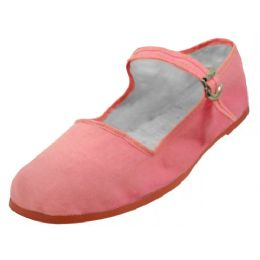 36 Bulk Girl's Classic Cotton Mary Jane Shoes Pink Color Only