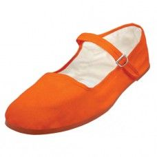 36 Bulk Girl's Classic Cotton Mary Jane Shoes - Orange Color Only